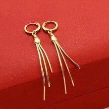 MxGxFam 3 линии Висячие серьги с кисточками для женщин Мода 24 К чистого золота цвет без камня хорошее качество ювелирных изделий