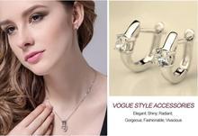 U Shape Sterling Silver Hoop Clear Zirconia Earring For Women