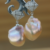 Women Gift word 925 Sterling silver real Original design, natural special shaped pearl earrings, strange , personal Jewellery