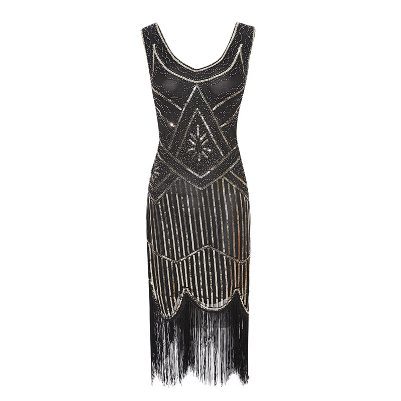 Newest Women 39 s 1920s Vintage Sequin Full Fringed Deco Inspired Flapper Dress Roaring V Neck Great Gatsby Dress Vestidos XS 4XL in Dresses from Women 39 s Clothing