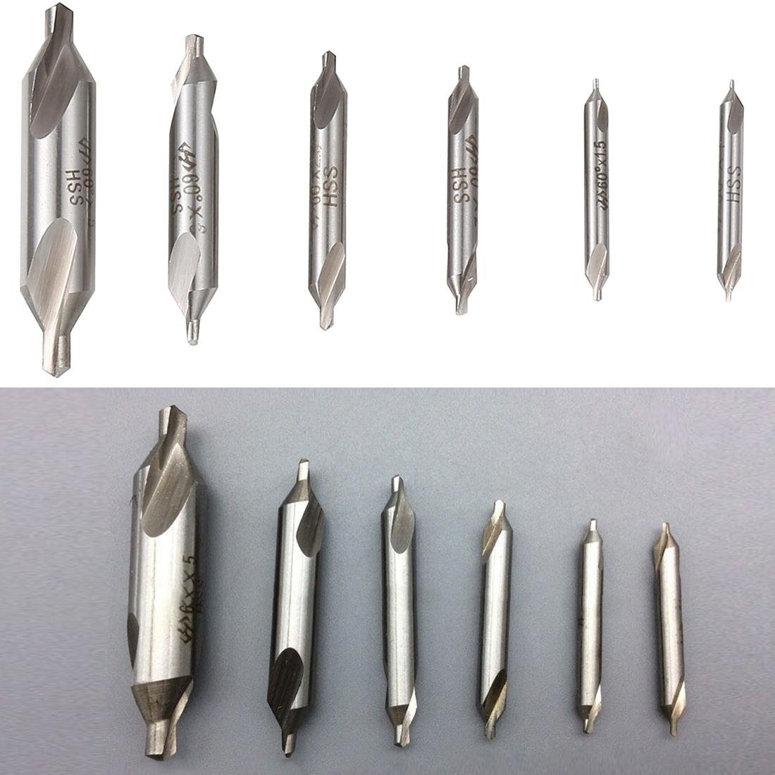 6pcs/set 5/3/2.5/2/1.5/1mm  HSS Center Drill Bits Set Precision Combined Countersinks Kit 60 Degree Angle  for Lathe High speed