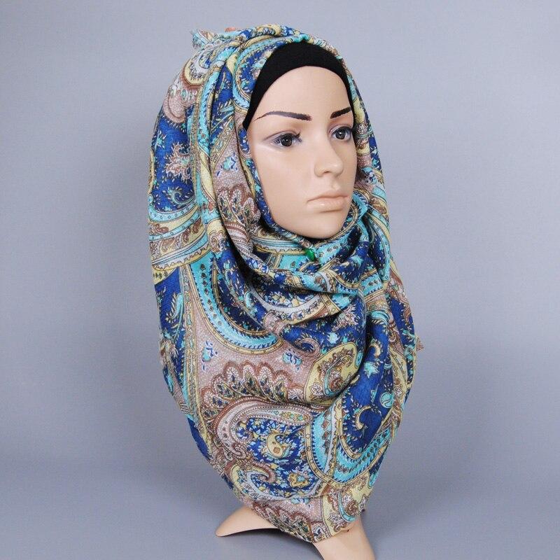 Hot selling Design women printe cashew floral cotton scarf Muffler hijab bohemian muslim summer wrap scarves