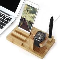 Bamboo Wood Charge Dock Charge Holder Stand 4 USB Ports HUB Station Cradle For Apple Watch