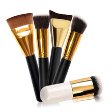 5PCS Mini 163Flat Top Outline Fat Brushes Pro Cosmetic Makeup Brush Kit Eyeshadow Powder Makeup Brush kit + Canvas Bag