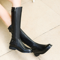 Rivet Strap Fashion Sexy Boots Shoes Woman Genuine Leather Knee High Plush Booties Female Winter Lady Heel Shoes Plus Size 42
