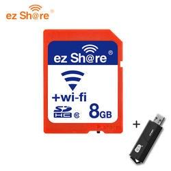Оригинальный эз Поделиться Wi-Fi SD Card 8 ГБ Class 10 SDHC флэш-памяти SD Card8g для canon/nikon camera sd карты Бесплатная card reader доставка