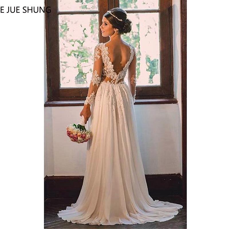 E JUE SHUNG Ivory Lace Appliques Pearls Beach Wedding Dresses Long Sleeves Backless Boho Bridal Dresses