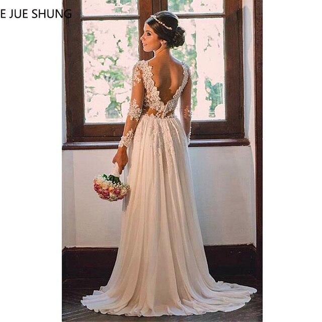 E JUE SHUNG Ivory Lace Appliques Pearls Beach Wedding Dresses Long Sleeves Backless Boho Bridal Dresses robe de mariage