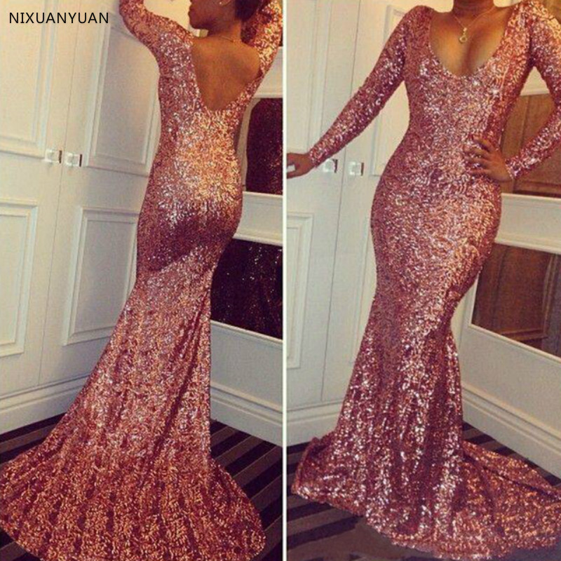 Rose Pink Sparkly Sequined Prom Dresses 2019 Scoop Neck Long Sleeves Cheap Mermaid Sexy Low Back Evening Gowns Vintage Pageant
