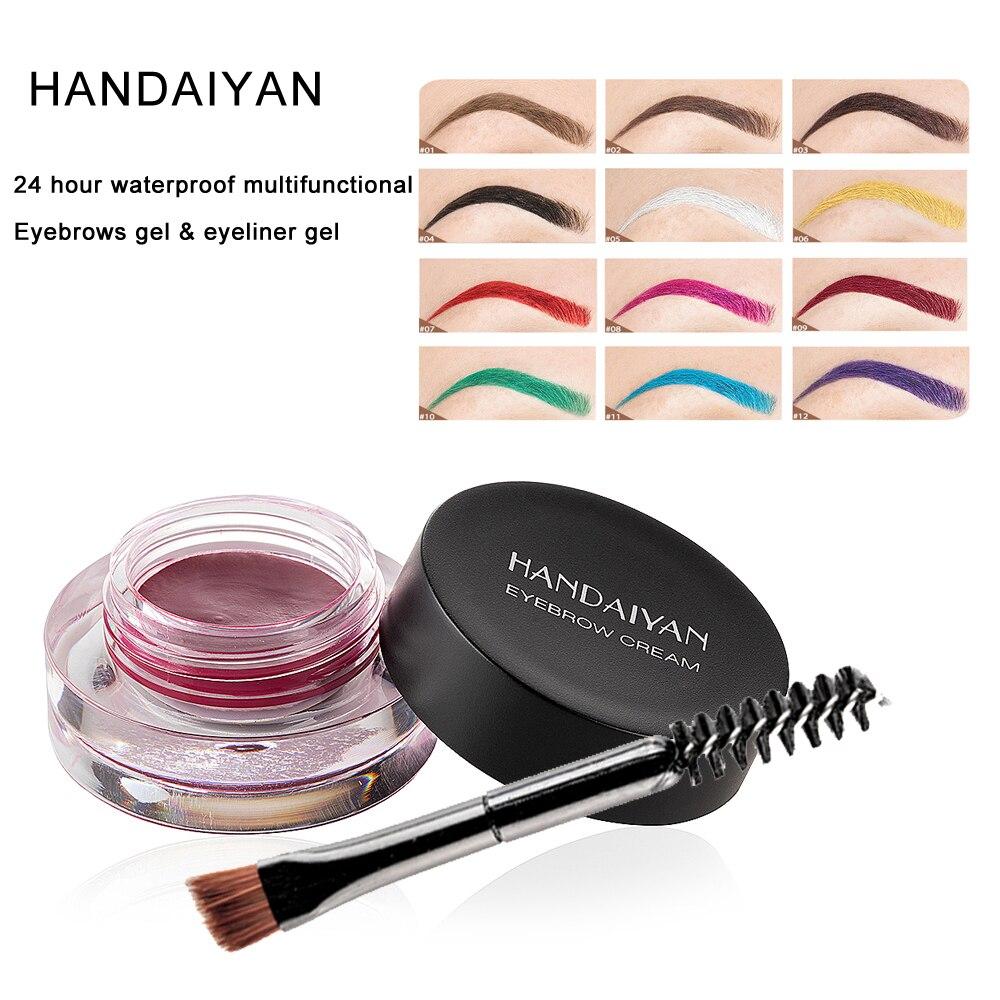 HANDAIYAN nouveauté 24 heures imperméable multifonctionnel sourcil Gel Eyeliner Gel maquillage 12 couleur sourcil crème avec brosse outil