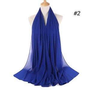 Image 4 - Malaisie Design instantané plaine bulle en mousseline de soie écharpe châles haute qualité Hijab musulman foulards 180*75 cm 47 couleurs