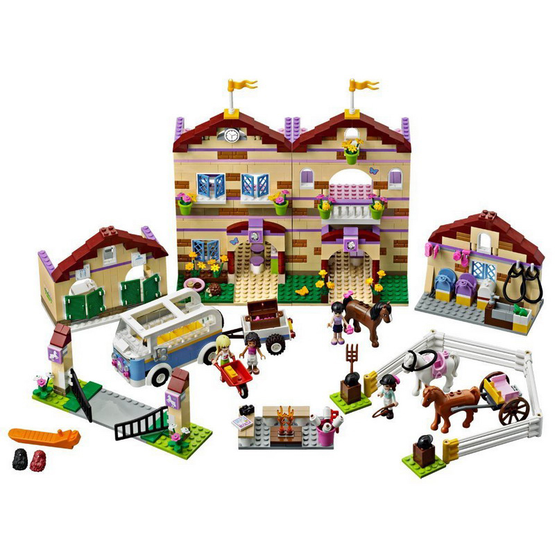 BELA 10170 Friends Series Summer Riding Camp Model Building Blocks Enlighten Figure Toys For Children Compatible Legoed decool 3117 city creator 3 in 1 vacation getaways model building blocks enlighten diy figure toys for children compatible legoe
