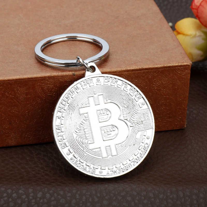 Dongsheng החדש Bitcoin Keychain שעורת בציר כסף עלה זהב הנצחה מטבעות מפתח תליון keyring לנשים גברים מפתח שרשרת
