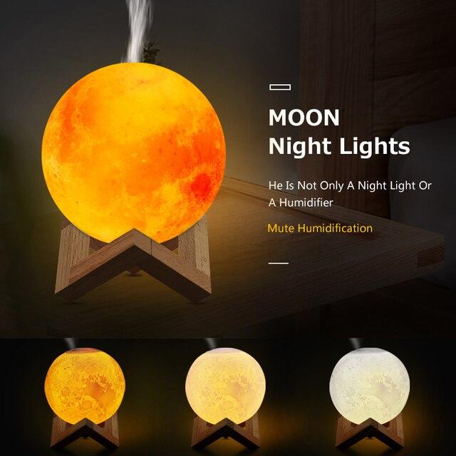 Ultradźwiękowy olejek eteryczny do nawilżacza dyfuzor do aromaterapii 880ml 3D lampa księżycowa światło z USB oczyszczacz rozpylający mgiełkę