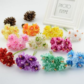 6pcs Cheap silk stamen Artificial Flowers for home Wedding Decoration DIY Wreath Decorative Bride Bouquet brooch Fake Flowers