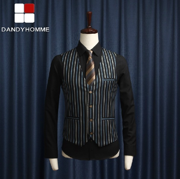 DANDY HOMME 2015 NEW AUTUMN MEN BUSINESS WEDDING SUITS VESTS STRIPE SLIM CASUAL GENTLEMAN GROOM BLAZERS VEST KOREAN STYLE