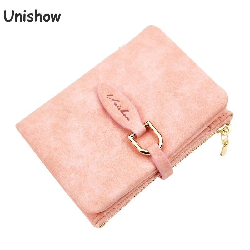 Unishow Wallet Female Short Design Matte Pu Leather Women Wallet  Brand Small Women Purse Female Mini Coin Purse Card Holder dollar price women cute cat small wallet zipper wallet brand designed pu leather women coin purse female wallet card holder