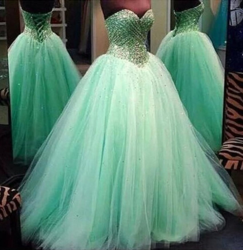 Green Popular Gorgeous Modern Puffy Sweet 16 Quinceanera Dresses Tulle Masquerade Ball Gowns In From Weddings Events On Aliexpress