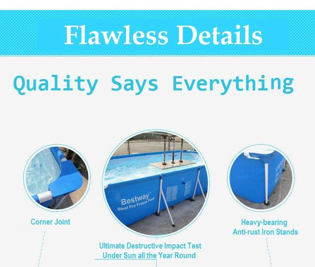 300*201*66cm Large Square Metal Frame Support Swimming Pool for Kids ...