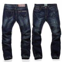 High Quality Plus Size 40 Pure Color Classic Blue Denim Jeans Straight Pants Stretch Denim Men Jeans Trousers