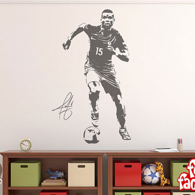 Paul Pogba Wall Decal Sticker Football Soccer Player France Mural Home Decal  Creative Sports Wall Stickers