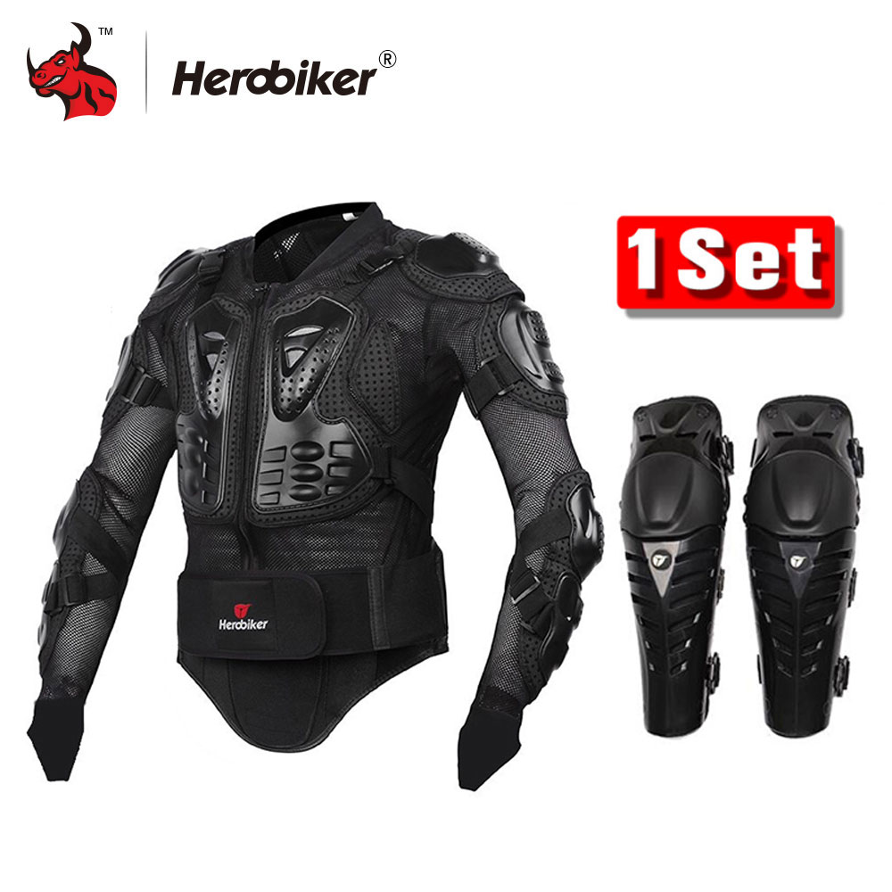 HEROBIKER Motorcycle Body Armor Protection Motorcross Racing Jacket+ Motocycle Knee Pad Moto Armor Black And Red herobiker black motorcycle racing body armor protective jacket gears short pants motorcycle knee protector moto gloves