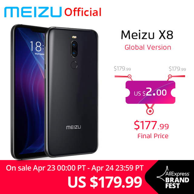 Global Version Meizu X8 4GB RAM 64GB 128GB Mobile Phone Snapdragon 710 Octa Core 6.15'' 2220x1080P Front 20MP Camera Fingerprint