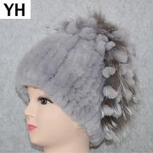 2020 Womens Genuine Rex Rabbit Fur Hat Winter Rex Rabbit Fur Beanies Hat Striped Warm Elastic Knited Real Rex Rabbit Fur Cap