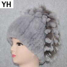 2020 das mulheres genuíno rex coelho pele chapéu de inverno rex coelho beanies chapéu listrado quente elástico knitted real rex pele de coelho boné