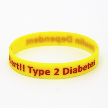 Medical Alert ID Type 2 Diabetes Insulin Dependent Silicone Wristband Bracelets 2