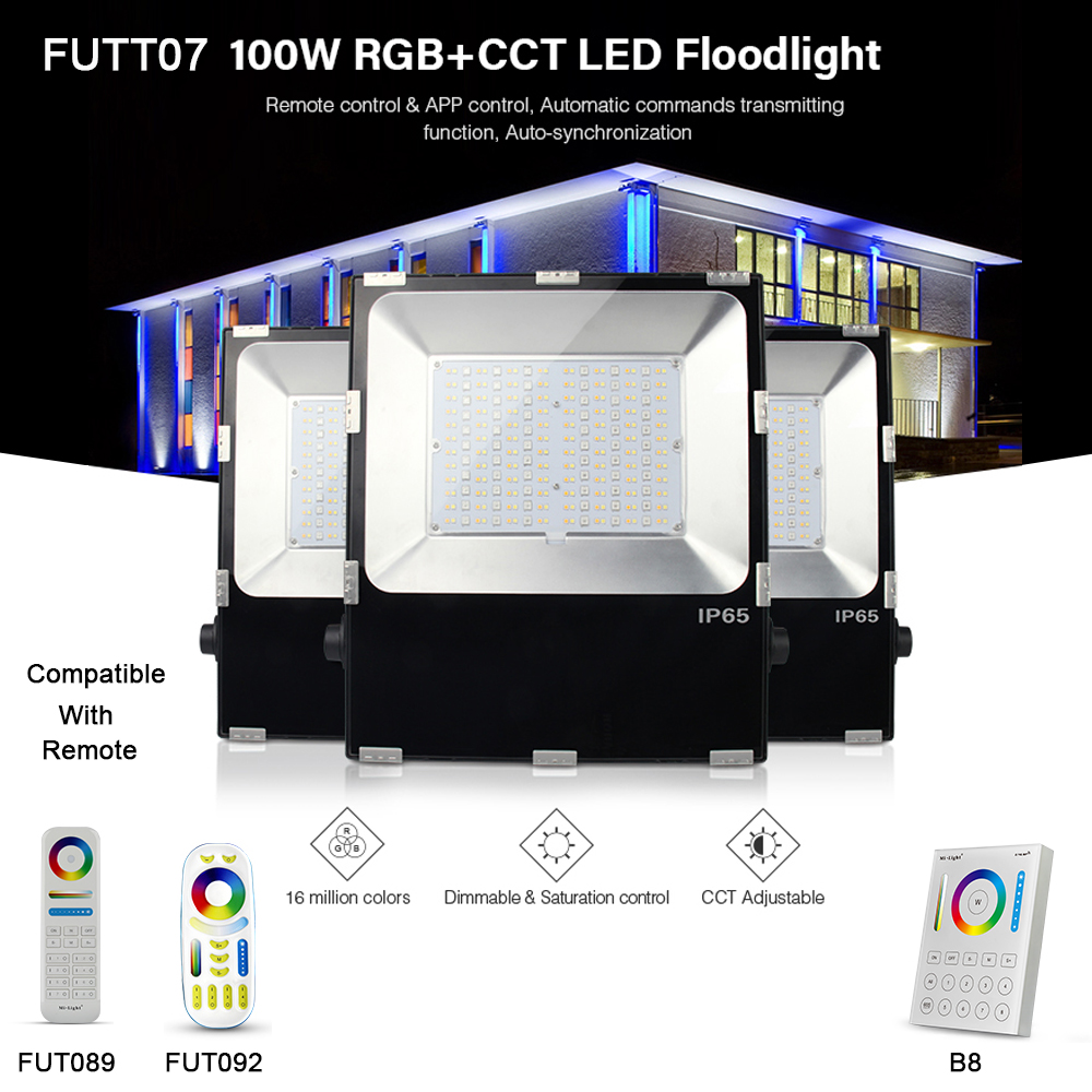 Milight 100W RGB+CCT LED Floodlight IP65 Waterproof LED Outdoor Lighting compatible with FUT089FUT092B8 Remote controller