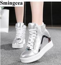 Женская Мода Высота Увеличение Обувь Женщины Клинья Дамы Платье Обувь женская Повседневная Обувь белый Криперс Повседневная Квартиры