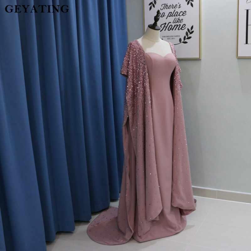 Ağır Boncuklu Kirli Pembe Arapça Akşam Elbise Pelerin Kol Yousef balo kıyafetleri 2019 Elbise dubai Soiree Resmi Uzun Parti Törenlerinde