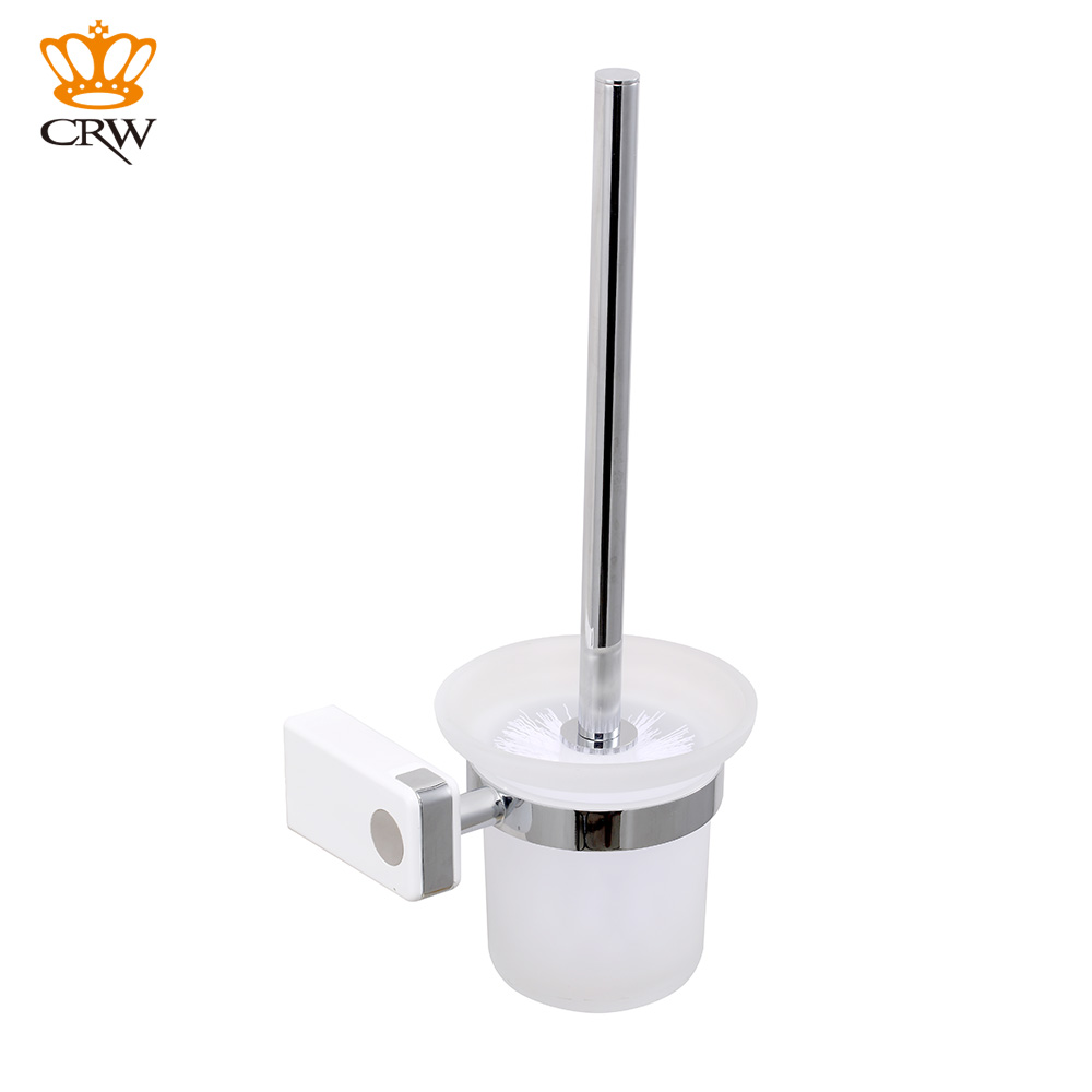 CRW Bathroom Toilet Brush Holder Wall Mounted ABS U0026 Brass Chromed Glass  Toilet Brush Cup Set