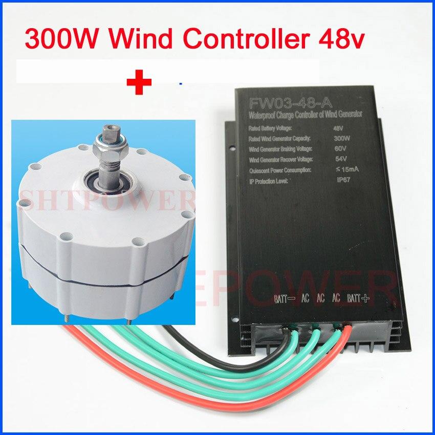 Système d'éoliennes du générateur 300 W de 48 V avec le contrôleur de chargeur de vent de 48 V LED/aimant permanent triphasé à ca sans LED