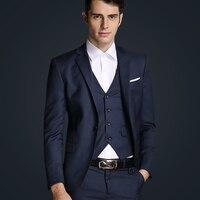 Top Quality 2015 Mens Slim Suits Set 3 Psc Blazer Vest Pants Groom Wedding Suits For