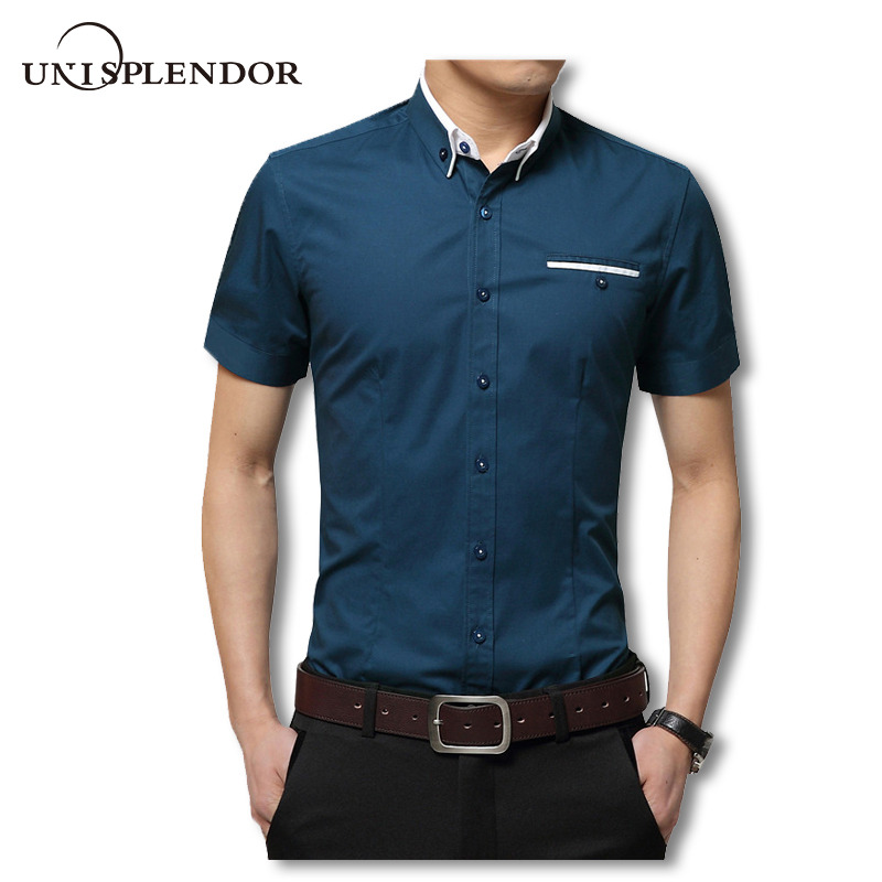 2019 Yaz Erkekler Kısa Gömlek Casual Gömlek Gömlekler Katı Gömlek Yeni Moda 100% Pamuk Erkek Gömlek Gentleman Stil YN10067