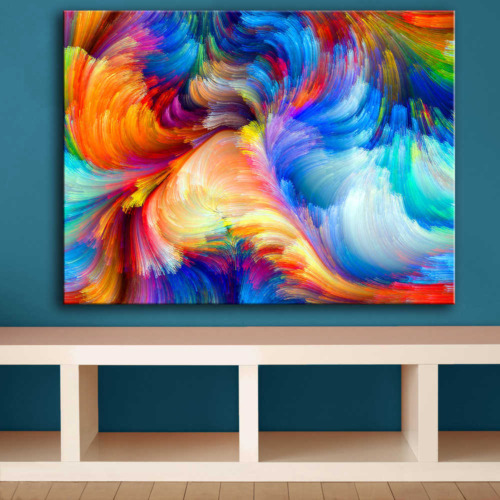 Huge Size Rainbow The Color Blur Pattern Wall Painting For Home Decor Ideas Print On Canvas Oil Painting No Frame