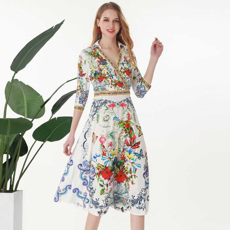 Red RoosaRosee Runway Summer 2019 Red Floral Print Half Sleeve White Dress Women Elegant New Dresses