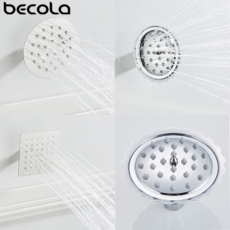 BECOLA 4 Inch Rainfall Shower Head Stainless Steel Ultra-thin Showerheads Rain Shower Chrome Finish Round & Square