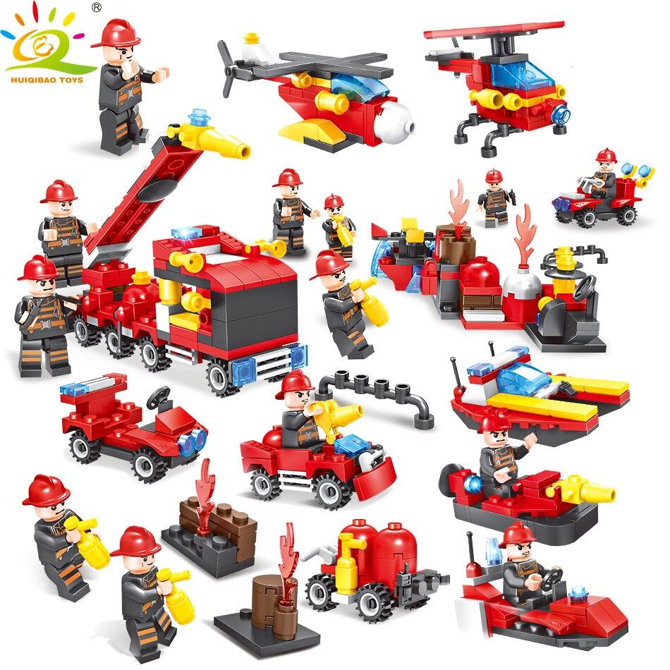 376pcs 8in1 Fire Truck Helicopter Firefighter Figures Building Blocks Enlighten Toys For Children Compatible Legoed City Bricks