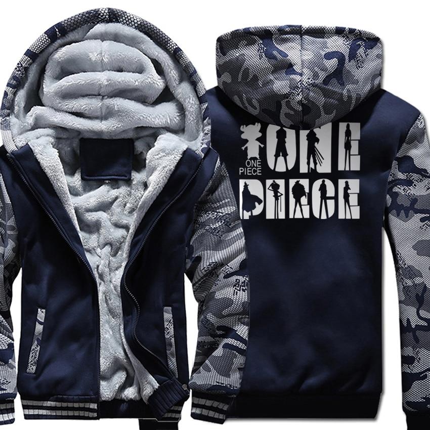 Anime ONE PIECE Fashion Men's Sportswear 2018 Winter Thick Sweatshirts With Hat Warm Raglan Warm Hoodies Men Harajuku Jackets