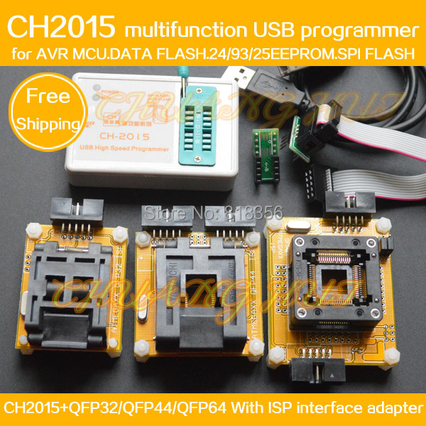 CH2015 Intelligent High Speed USB Programmer+QFP64 QFP44 QFP32 adapter for mega8 mega48 mega64/at45db16 at45db032 ad9854asq ad9854 qfp