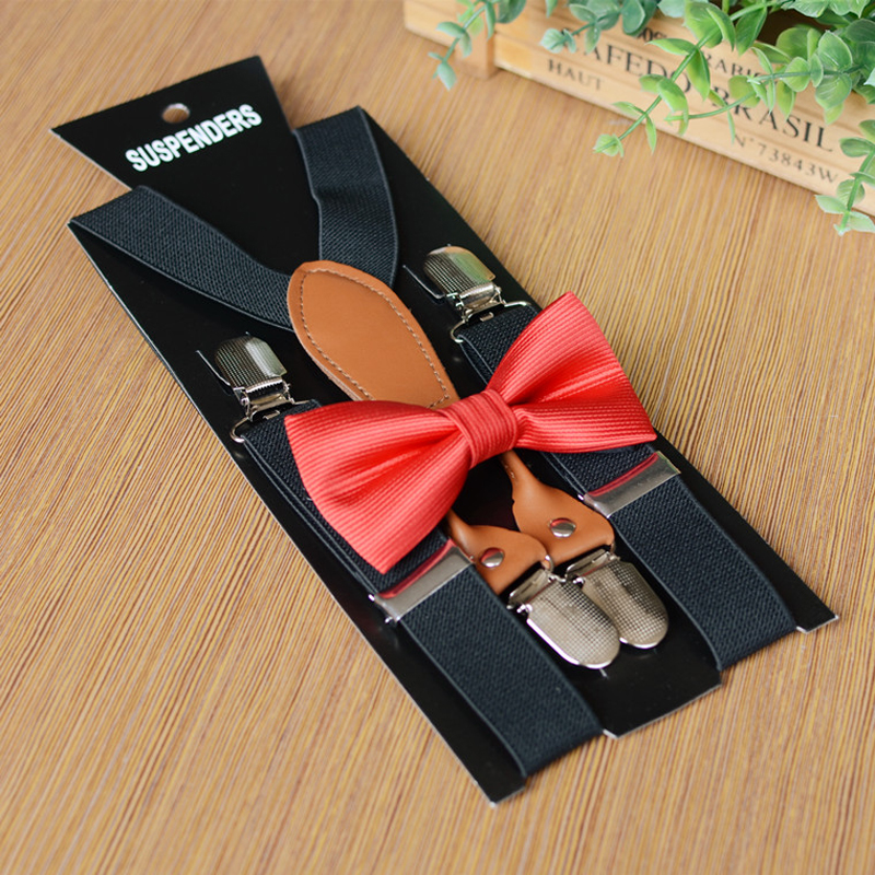 Fashion 2.5cm Wide Children 4 Clip-on Y-Back Elastic Adjust Suspenders Bow Tie Set Neck Tie Party Daily Braces For Boys Girls