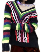 2017 Hot Sale Pullover Men Sweater Men Sudaderas Female V Neck Knit Shirt Sleeve Head Twist Color Stripe Rainbow Mohair Sweater