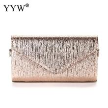YYW Champagne Wedding Clutch For Women Light Gold Envelope Handbag Purse Female 2019 Fashion Bolso Mujer
