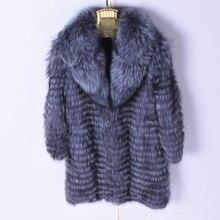 2018 Natural Woman Winter Real Silver Fox Fur Long Striped Coat 90 cm Jacket Leisure Hair Collar Womens Warm Clothing