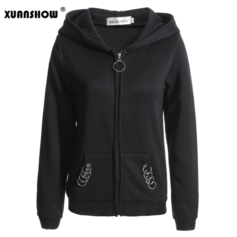 XUANSHOW 2020 Women's Hoodies Sweatshirt Long Sleeve Fashion Big Hat Harajiku Punk Female Coat Iron Ring Casual Sudadera S-5XL