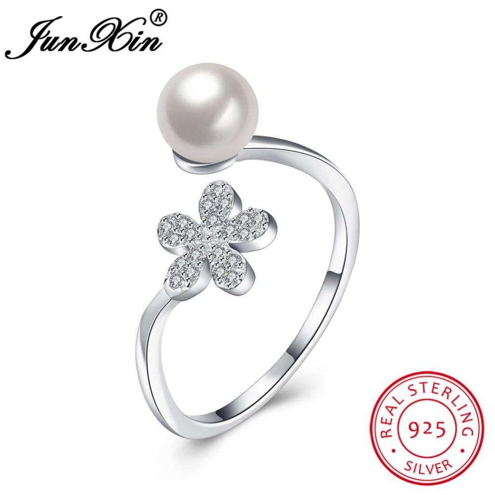 Junxin Women's 100% 925 Sterling Silver Adjustable Ring Brand Design  Promise Engagement Rings For Women