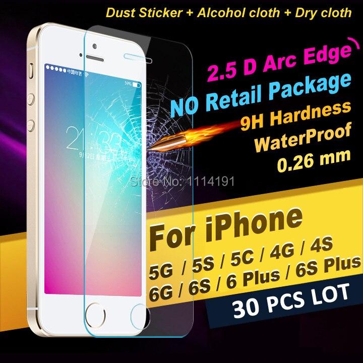 bilder für X 30 STÜCKE LOS HD 2.5D Front Display-schutz Aus Gehärtetem Glas 0,26mm Premium schutzfolie für iphone 4 4 s 5 5 s 5c 6 6 s 7 plus